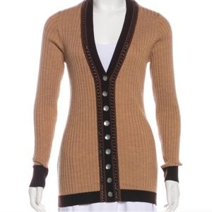 Nanette Lepore Chain-Accented Tan Cardigan